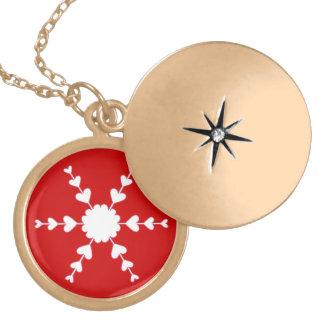 赤く白いバレンタインのハートの雪片のネックレス ゴールドプレートネックレス