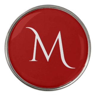 赤く白いモノグラムの ゴルフボールマーカー