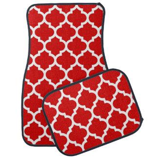 赤く白いモロッコのクローバーパターン#5 カーマット