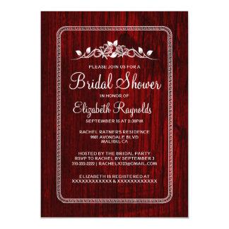 赤く白いヴィンテージの納屋の木製のブライダルシャワーの招待 カード