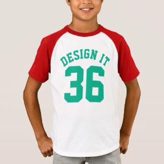 赤く白い及びエメラルドグリーンは|のスポーツジャージーをからかいます Tシャツ
