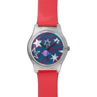 赤く白い及びブルースターは第28腕時計よろしいです 腕時計
