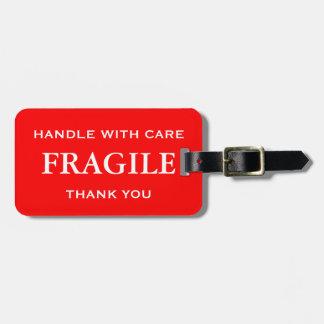 赤く白い壊れやすい心配と感謝していしています扱います ラゲッジタグ
