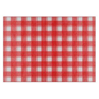 赤く白い格子縞によって点検されるガラスまな板 カッティングボード