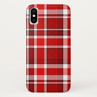 赤く白い格子縞のタータンチェック iPhone X ケース