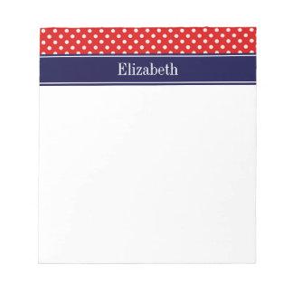 赤く白い水玉模様海軍一流のモノグラム ノートパッド