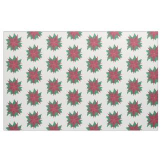 赤く白い緑のポインセチアのクリスマスの生地 ファブリック
