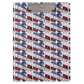 赤く白くおよび青のアメリカの愛国心が強い旗の米国 クリップボード