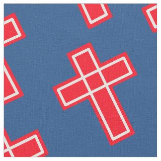 赤く白くおよび青のキリスト教の十字パターン ファブリック