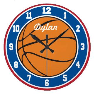 赤く白くおよび青のバスケットボールの時計 ラージ壁時計