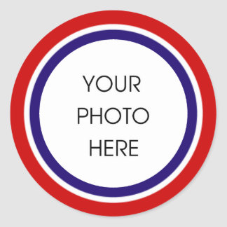 赤く白くおよび青の写真フレーム ラウンドシール