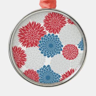 赤く白くおよび青の夏の花 メタルオーナメント