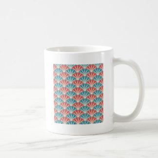 赤く白くおよび青の孔雀パターン コーヒーマグカップ