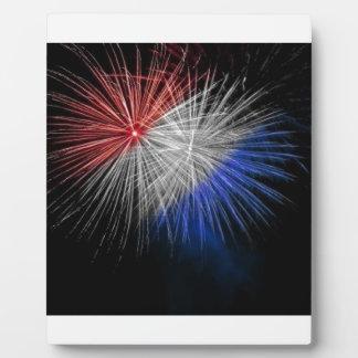 赤く白くおよび青の愛国心が強い花火を祝って下さい フォトプラーク
