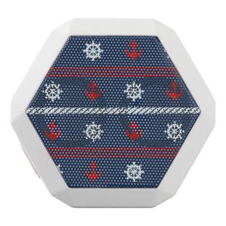 赤く白くおよび青の海パターン ホワイトBluetoothスピーカー