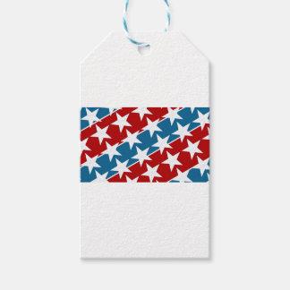 赤く白くおよび青の米国旗の星 ギフトタグ