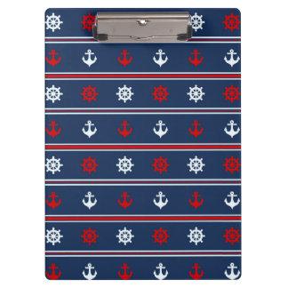 赤く白くおよび青の航海のなパターン クリップボード