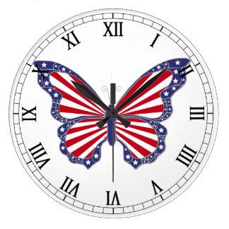赤く白くおよび青の蝶ローマ数字の時計 ラージ壁時計