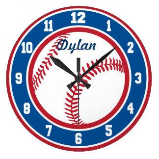 赤く白くおよび青の野球の時計 ラージ壁時計