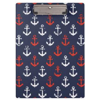 赤く白くおよび青海軍パターン クリップボード