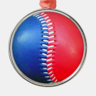 赤く白く及び青の野球 メタルオーナメント