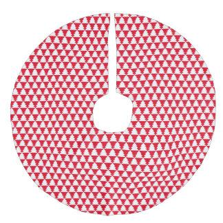 赤く白く幾何学的なクリスマスツリーパターン フェイクリネンツリースカート