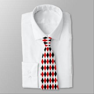 赤く白く黒い道化師のダイヤモンドパターン ネクタイ