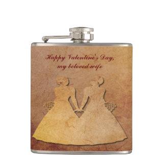 赤く素朴なペーパーレズビアンの妻のバレンタインHipflask フラスク
