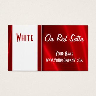 赤く膚触りがよいサテンの名刺の白 名刺