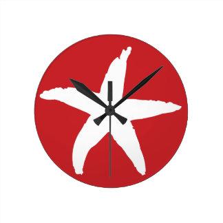 赤く航海のな海星 ラウンド壁時計