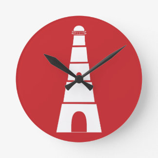 赤く航海のな灯台 ラウンド壁時計