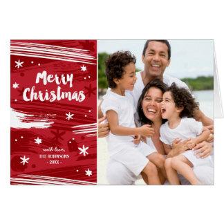 赤く色彩の鮮やかなクリスマスカード グリーティングカード