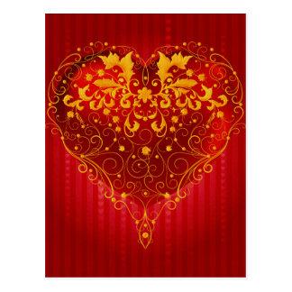赤く華美なハート ポストカード