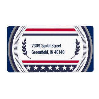 赤く青いアメリカのバッジ ラベル