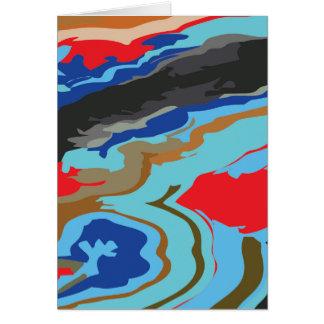 赤く青いカムフラージュ カード