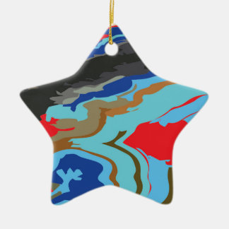 赤く青いカムフラージュ 陶器製星型オーナメント