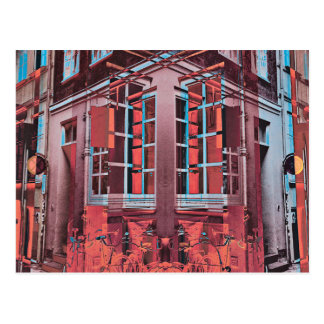 赤く青いコペンハーゲンの窓の反射のデジタル芸術 ポストカード