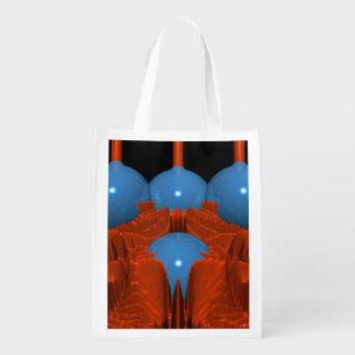 赤く青いマクロフラクタル エコバッグ