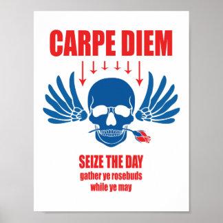 赤く青いヴィンテージレトロのCarpe Diem。 日を握って下さい ポスター