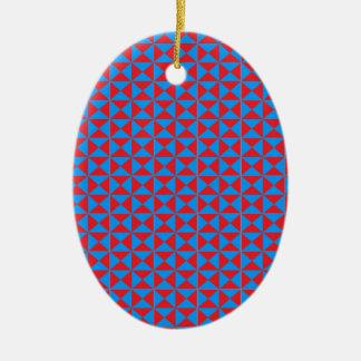 赤く青い三角形パターン セラミックオーナメント
