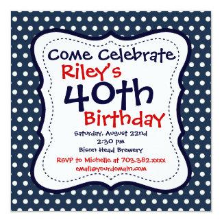 赤く青い水玉模様の第40誕生日のパーティの招待状 カード