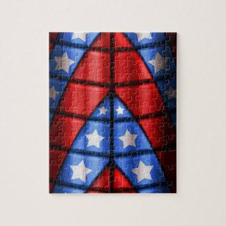 、赤く青い、スーパーヒーロー-白い星 ジグソーパズル