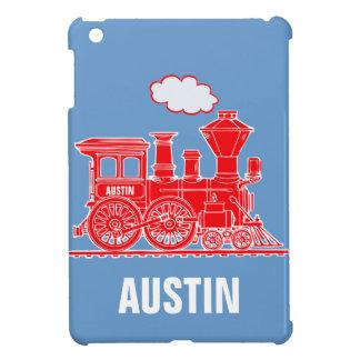 赤く青いipadの小型場合と名前を挙げられる男の子を訓練して下さい iPad mini カバー