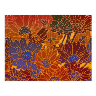 赤く青およびオレンジ花 ポストカード