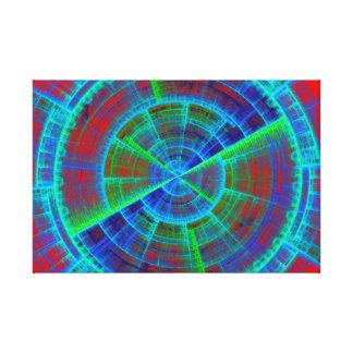 赤く青および緑のフラクタルの技術ディスク キャンバスプリント