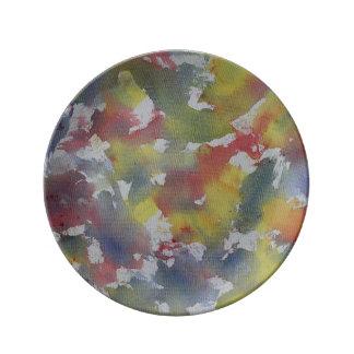 赤く青く黄色い水彩画 磁器プレート