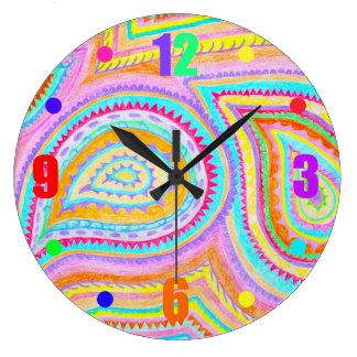 赤く黄色いピンクのBohoのレトロのペイズリーパターン ラージ壁時計