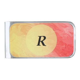 赤く黄色い炎の質の背景 シルバー マネークリップ