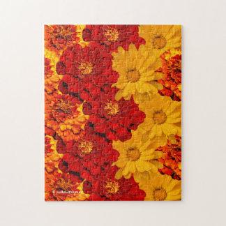 赤く黄色およびオレンジマリーゴールドのメドレー ジグソーパズル