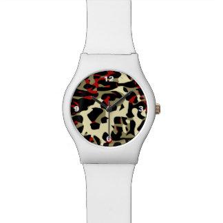 赤く黒いクリーム色のチータの抽象芸術 腕時計